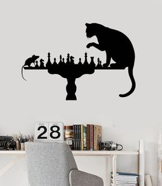 Wall Vinyl Decal Funny Chess Cat Mouse Art Home Decoration Stickers (ig3108)