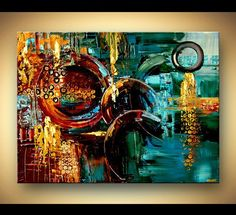 Original Large Colorful Abstract Painting Textured Modern Palette Knife Acrylic Painting: