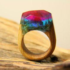 """Wooden Ring """"Aurora Borealis"""" Resin Ring $80"""