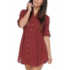 Haute Latitude Burgundy Button-Up Tunic ($23) ❤ liked on Polyvore featuring tops, tunics, burgundy top, button up tops, button up tunic, fitted tops and button down top