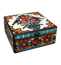 20cm x 20cm x 9cm-Beautiful Wooden Hand Made Decorative Box with Decoupage Technic-DBP-20x20-12
