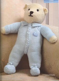 Knit Today 2009 01 Knitting Bear, Teddy Bear Knitting Pattern, Knitted Doll Patterns, Animal Knitting Patterns, Baby Cardigan Knitting Pattern, Knitted Dolls, Baby Knitting Patterns, Knitting Toys, Free Knitting