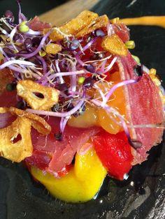 Ensalada de mojama con mermelada mango málaga (mango_mmm...) y sus cositas...!!! Chef: María José Cerezo / Messala Gastrobar. Sevilla