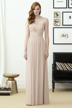 e04e1992e00 Style 2961 by Dessy Collection Full length strapless lux chiffon dress w  sweetheart  neckline and draped bodice. Complementary beaded detail on bodice.