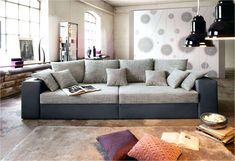 Nova Via Big-Sofa, wahlweise in XL oder XXL kaufen Xxl Sofa, Sofa Design, Big Sofas, Beige, Form, Furniture, Home Decor, Products, House
