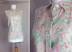 Vintage Ralph Lauren Floral Shirt  Cabbage by sixcatsfunVINTAGE