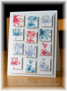 Downstairs Designs: Fast and Fab...inchies colored by stamp and blend technique...pretty card