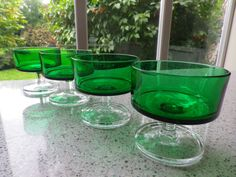 1970s era French Green Glass Sundae Dishes by KittysVintageVault, £6.50