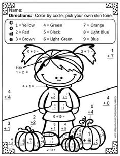 best fall  homeschool activities images  day care infant  fall color by numbers addition color by code printable and answer key  freebie math worksheetsaddition