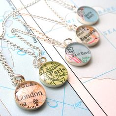 Weddings Bridesmaids Petite Vintage Map Necklaces.  You Select Journeys for each Maid.. $157.25, via Etsy.