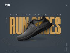 Run Shoes Landing Page by Manoj on Dribbble Shoe Advertising, Creative Advertising, Advertising Design, Game Design, Banner Design Inspiration, Shoe Poster, Flat Web Design, Shoes Ads, Creative Shoes