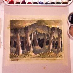 Ira Sluyterman van Langeweyde little forest painting  #watercolor #watercolour