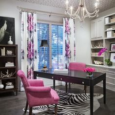 Home office idea with fun POPS of pink in the chairs, drapery, and accessories. Love this entire room as a dedicated office - perfect for the woman who works remotely or if you work from home.