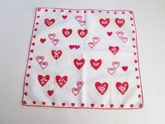 Vintage 1950s Valentine Hanky Hankie Valentine's Day Gift Cotton  $10 http://www.rubylane.com/item/676693-CLL45/Vintage-1950s-Valentine-Hanky-Hankie-Valentinex27s