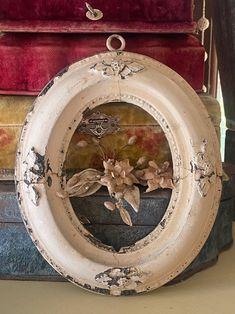 Antique victorian chippy gesso frame | Etsy Wax Flowers, Mercury Glass, Vintage Frames, Flower Crown, Victorian, Antiques, Painting, Etsy, Crown Flower