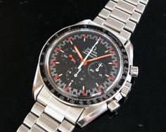 In 1968, Omega even produced a Speedmaster Professional with a so called 'racing'-dial. Not to be confused with the later 1970s Speedmaster Professional Mark II with racing dial. This 145.012 (1968)