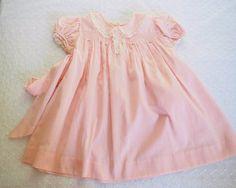 Vestido de bebé Vintage rosa algodón fino punteado por gradyladies