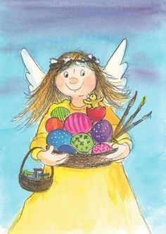 Postcrossing postcard from Finland Museum Studies, Les Religions, Cute Clipart, Guardian Angels, Flower Fairies, Vintage Easter, Whimsical Art, Cute Illustration, Beautiful Artwork