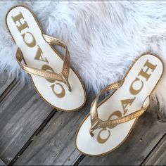 Coach gold leather flip flops Super chic summer staple to go with everything! Great condition! Coach Shoes Sandals