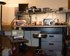 State of my electronic workbench as of January 2015, a year after Jenny and I built it.