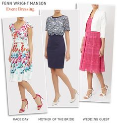 Fenn Wright Manson navy and ivory Mother of the Bride, wedding guest and race day outfits, pink fit and flare and floral print occasion dresses.