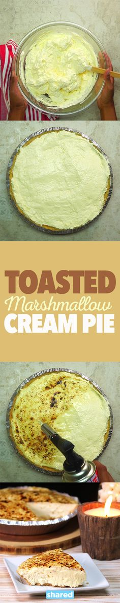Toasted Marshmallow Cream Pie Easy Cheap Desserts, Cheap Dessert Recipes, Sweets Recipes, No Bake Desserts, Cooking Recipes, Baking Desserts, Marshmallow Cream, Toasted Marshmallow, Good Food