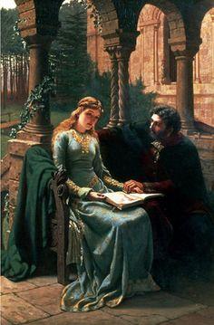 Edmund Blair Leighton (English Pre-Raphaelite and Romantic painter) 1852 - 1922, Abelard (1079-1142) and his Pupil Heloise (1101-1163), 1882, oil on canvas  97 x 64 cm., Phillips, The International Fine Art Auctioneers, United Kingdom
