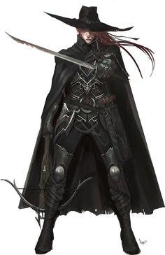Constance - humana caçadora de demônios. Teve a sua familia tragicamente arrastada para o abismo por demonios quando era criança. Sempre perseguida por estranhos acontecimentos sobrenaturais, ela foi guiada por espiritos até um grupo de aventureiros liderados por um mago poderoso que conseguiu sobrepujar um demônio lendário. Ela dedicou sua vida para destruir os demônios, e agora dedicará também sua alma.   Imagem: http://paizo.com/image/content/PathfinderPlayerCompanion/PZO9427-Hunter.jpg