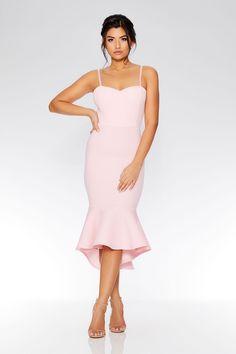 Vestido Midi Rosa Claro de Tirantes y Bajo Asimétrico