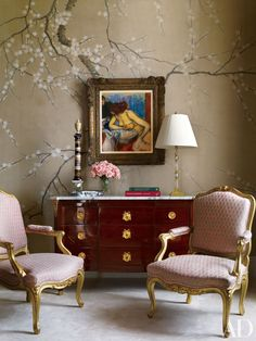 A painting by Edgar Degas is set against a hand-painted wall covering by de Gournay in the master bedroom of a Manhattan apartment by Michael S. Smith and Peter Pennoyer Architects.