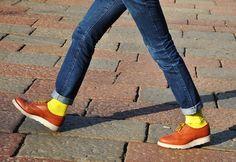 yellow socks, denim, brogues=perfect spring saturday