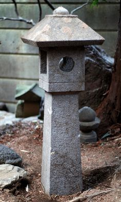 Stone lantern sculpted in two pieces from a heavy, grayish igneous stone. Zen Garden Design, Japanese Garden Design, Garden Art, Garden Ideas, Japanese Garden Lanterns, Japanese Stone Lanterns, Stone Garden Statues, Garden Stones, Stone Lamp