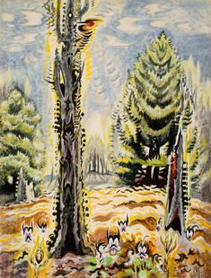The Woodpecker ARTIST / MAKER: Charles Ephraim Burchfield, 1893 - 1967 COLLECTION: American Art DATE: 1955-1963 CLASSIFICATION: Paintings MEDIUM: watercolor, gouache, crayon, on pieced paper DIMENSIONS: Frame: 54 3/4 x 42 1/2 in. (139.1 x 108 cm) Paper: 50 x 38 in. (127 x 96.5 cm) Image (visible): 49 1/4 x 37 1/4 in. (125.1 x 94.6 cm) CREDIT LINE: Gift of Barbara B. Millhouse OBJECT NUMBER: 1984.2.14