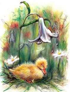 Duck, Duckling, children Nursery baby bird, wildlife Canvas or Cotton art paper print, 'Rainy Day Slumber' by Laurie Shanholtzer