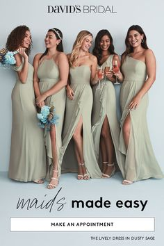 Shop bridesmaid dressses by color, price, silhouette and trend to create your perfect look. Available in sizes through plus size in 40 colors and many styles, find the right bridesmaid dresses at David's Bridal today. Green Homecoming Dresses, Hijab Wedding Dresses, Davids Bridal Bridesmaid Dresses, Wedding Gowns, Prom Dresses, Wedding Bridesmaids, Glamorous Wedding, Chic Wedding, Wedding Ideas