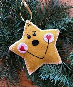 Wool Felt Happy Star Ornament Hanger Color Choice