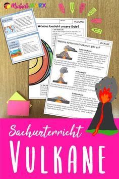 Mit diesem Unterrichtsmaterial lernen die Schüler die Grundlagen über Vulkane.    Die PDF-Datei enthält Informationstexte über den Aufbau von Vulkanen, Wissenskarteien zu Vulkanen, Arbeitsblätter und Bildkarten, die auch als Tafelmaterial verwendet werden können. Die Schüler*innen lernen die verschiedenen Stadien und Arten von Vulkanen kennen, erfahren, wie Vulkane entstehen und lernen, warum Vulkane nicht nur gefährlich sind.  #learngermanwithfun #lehrermarktplatz #sachkunde #sachunterricht German Resources, Homeschool, Journal, Index Cards, Volcanoes, Home Based Work, Pictorial Maps, Too Busy, Biology