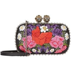 Alexander McQueen Embroidered Floral Skull Clutch (42.770 ARS) ❤ liked on Polyvore featuring bags, handbags, clutches, skull purse, alexander mcqueen handbags, embroidery handbags, alexander mcqueen clutches and gothic handbags