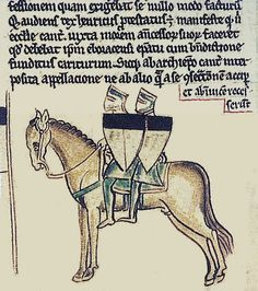 Old latin manuscript page  relating to the Templars. This shows the popular story of two knights on one horse, possibly the origins of the accepted seal. Not the shields divided black and white, the story goes this is to denote mans battle between good and evil.
