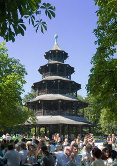 Have a traditional German lunch by the Chinese Pagoda in the English Beer Garden, Munich, Germany