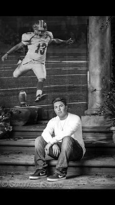 Senior Picture, Football Kicker,Black & White.