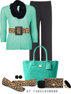 """Teal Spots - Going Bonkers for Belts"" by fabulousego on Polyvore"