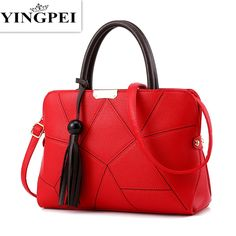 YINGPEI Leather Women Messenger Bags Handbags Woman Famous Brands Shoulder Crossbody Bag High Quality Tote Bag Tassel Gift