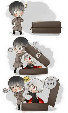 Arima: Haise where are u ? , Haise: Shit , oh a suitcase! Kaneki: Nope, that is my place to hide go away!!! - kAwaii