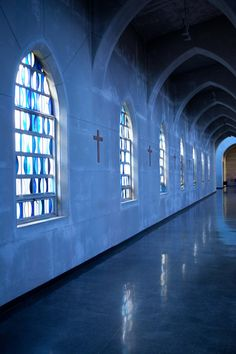 """Everything at the Monastery is free of decoration except the simple geometry of stained glass."""