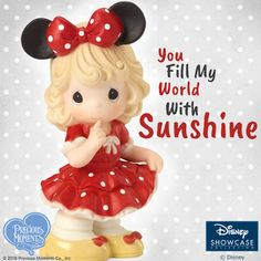 Want to know a secret? You fill our world with sunshine!  This little sweetie dressed up as Disney's Minnie Mouse is happy to lend a sunny day to anyone who could use one!   #PreciousMoments #LifesPreciousMoments #DisneyShowcaseCollection #Disney #MinnieMouse