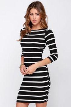 Womens Spring Long Black Striped Slim Dress