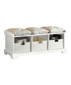 White Entryway Storage Bench Set