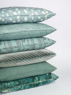 Pillow stack, Kelly Wearstler for Groundworks at Lee Jofa. Fabric credits, top to bottom: GWF-3106-313, GWF-3109-313, GWF-3102-138, GWF-3050-311, GWF-3110-313, GWF-3104-3