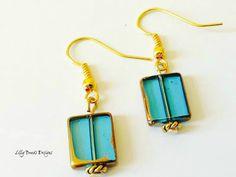 Dangle Earrings Czech Glass Drop by LillyBeadsDesigns on Etsy